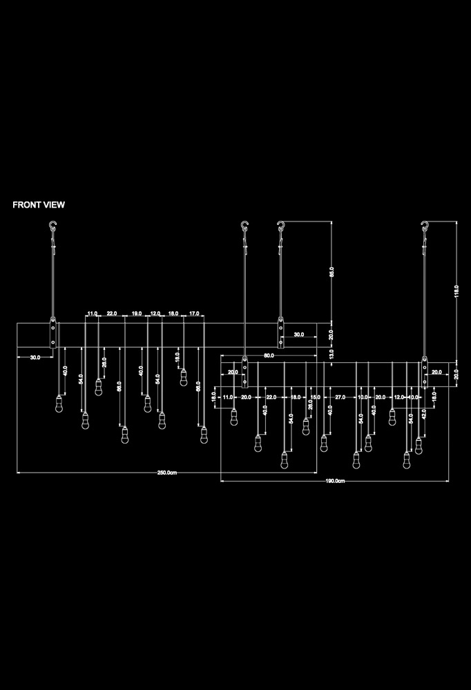 Piment Rouge Lighting Bali - Rustic Bar Pendant Lamp Technical Drawing
