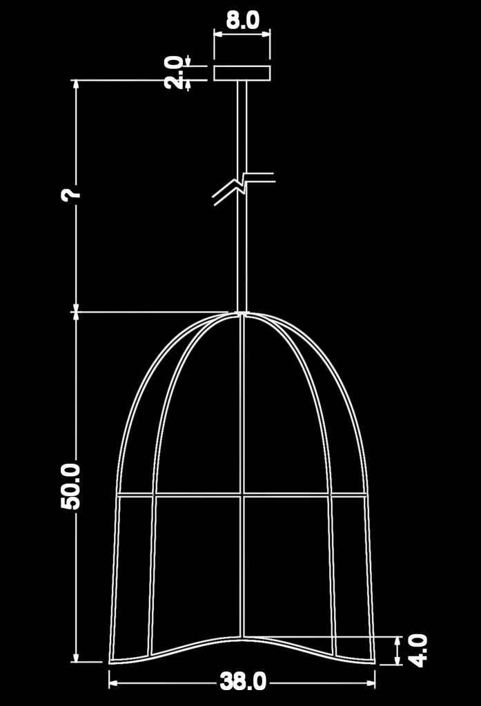 piment rouge custom lighting manufacturer - dano pendant technical drawing