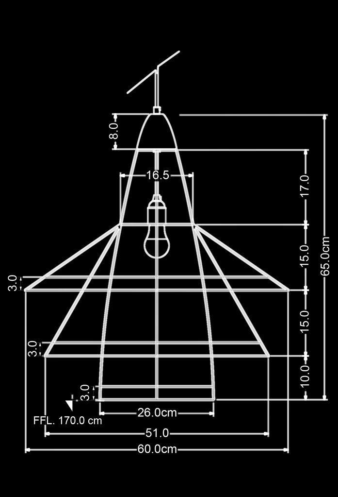 piment rouge custom lighting manufacturer - zulu pendant technical drawing