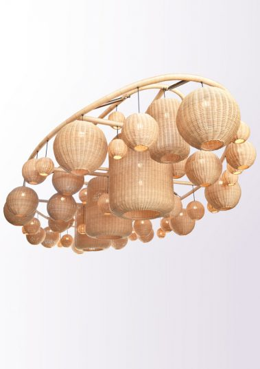 piment rouge custom lighting manufacturer - grand rattan pendant