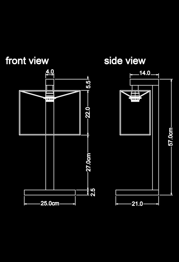 piment rouge custom lighting manufacturer - prado table lamp technical drawing