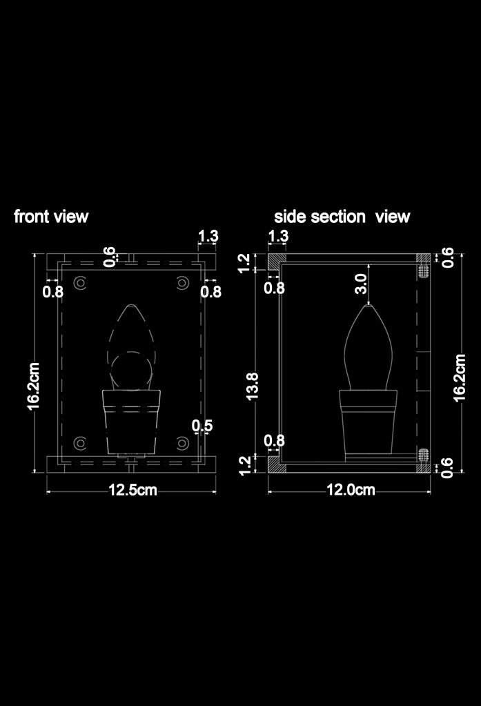 piment rouge custom lighting manufacturer - vida wall sconce technical drawing