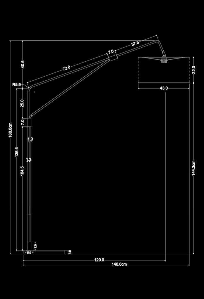 piment rouge custom lighting manufacturer - vimo standing lamp technical drawing