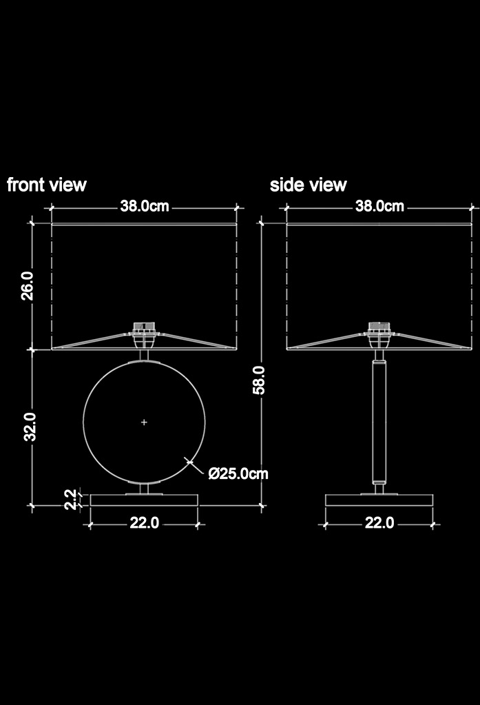 piment rouge custom lighting manufacturer - zano table lamp technical drawing