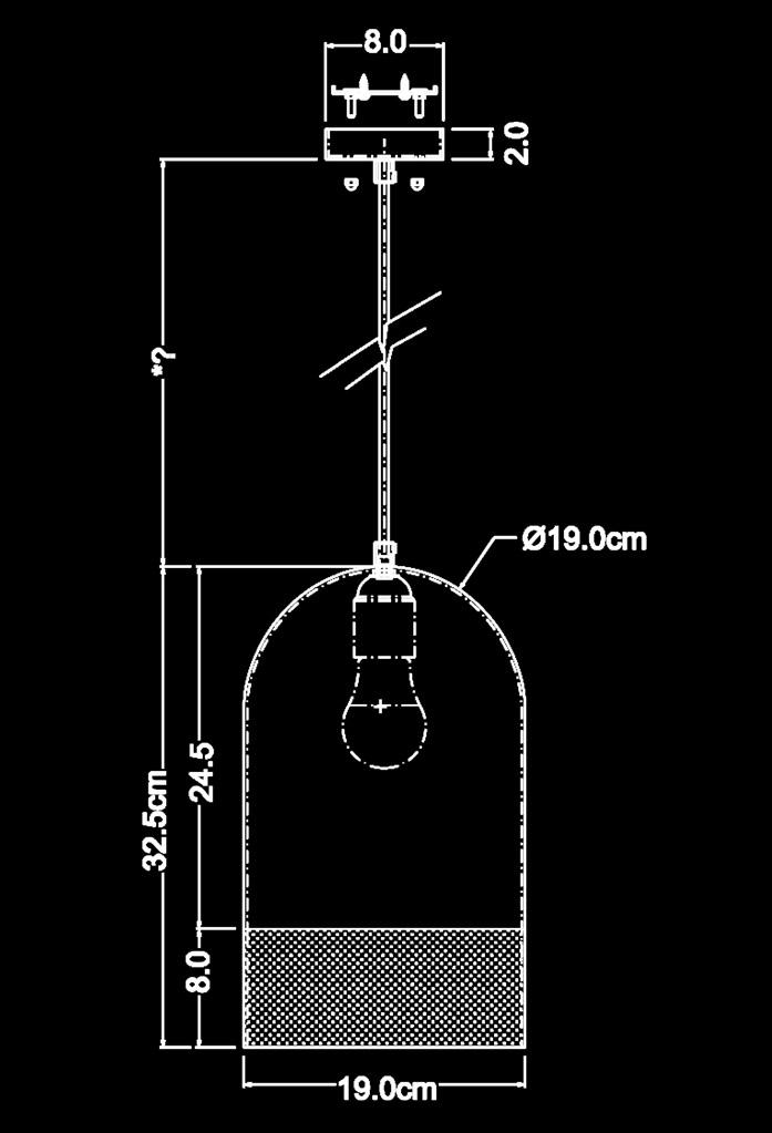 piment rouge custom lighting manufacturer - ardo pendant lamp technical drawing