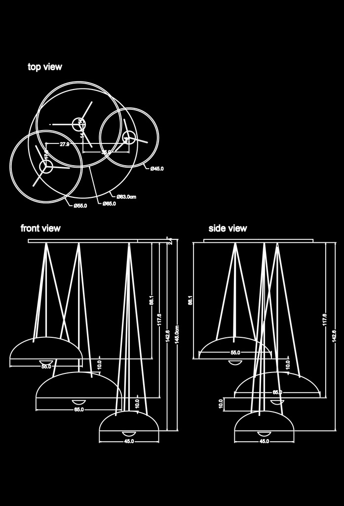 piment rouge custom lighting manufacturer - trio coupola pendant technical drawing
