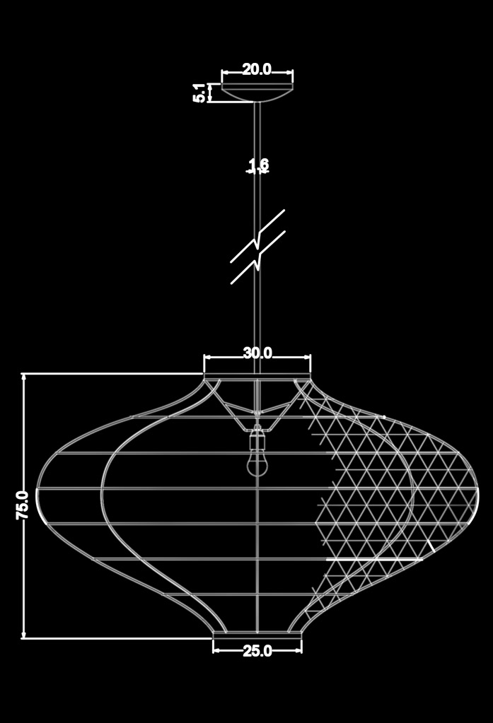 piment rouge custom lighting manufacturer - alicia pendant lamp technical drawing