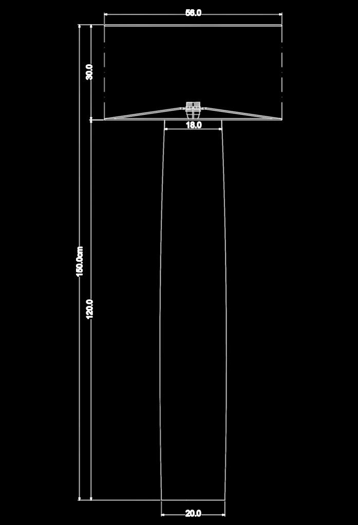 piment rouge custom lighting manufacturer - devon standing lamp technical drawing
