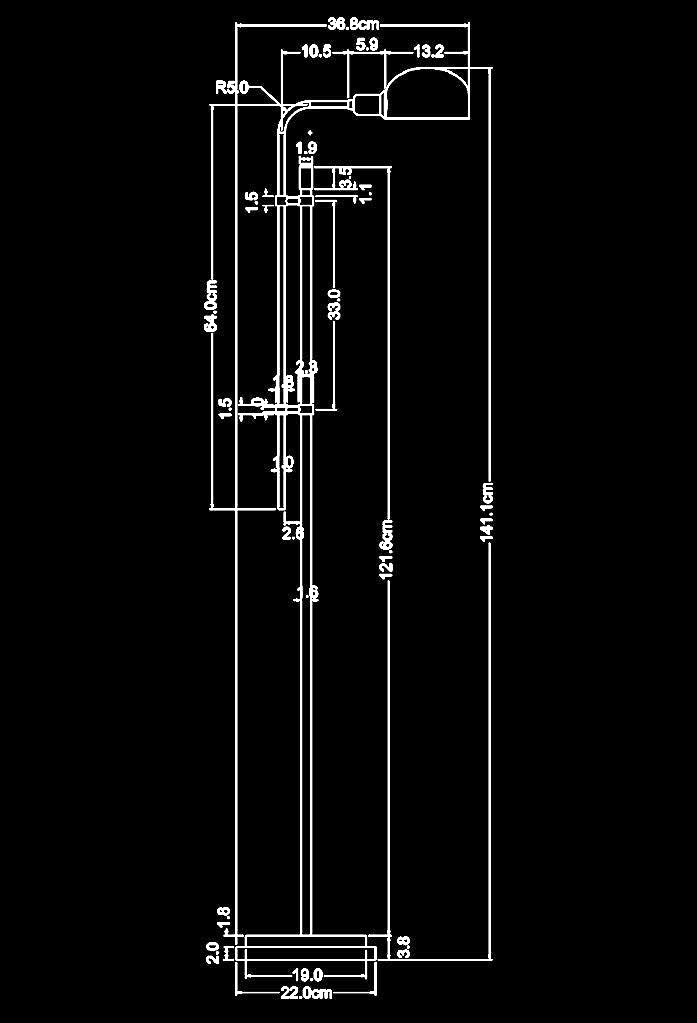 piment rouge custom lighting manufacturer - standing apothecary lamp technical drawing