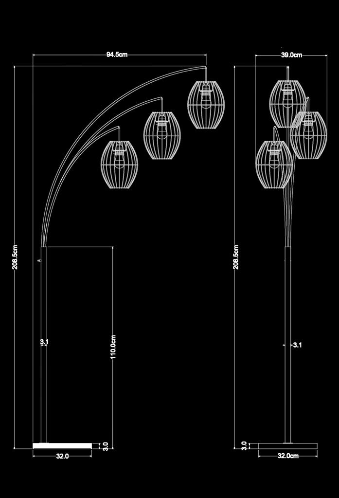 piment rouge custom lighting manufacturer - trinity standing lamp technical drawing