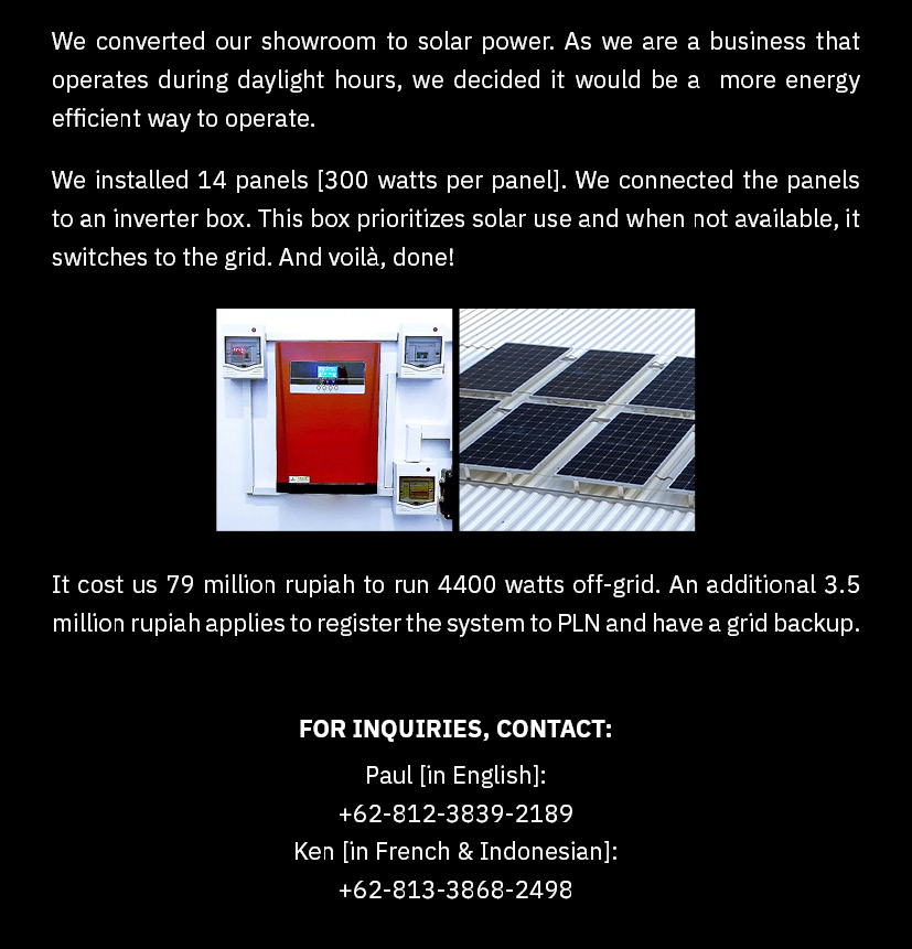 solar power panel conversion by piment rouge lighting bali