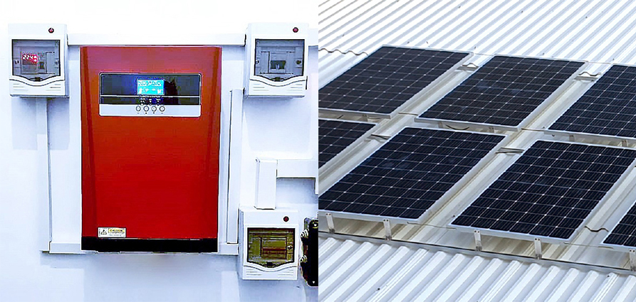 piment rouge lighting bali indonesia - on-grid inverter box and installed solar panels